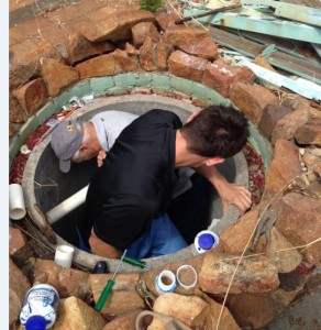 Tight working fixing old well.