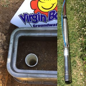 Submersible pump about to be installed in a newly drilled garden bore Greenwood, Gwelup