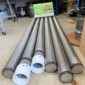 wire wrapped stainless steel screens for water bores.